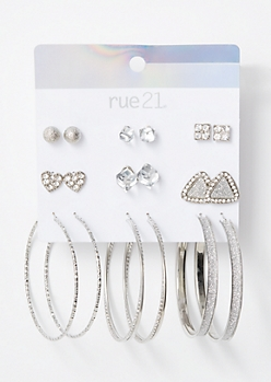 9-Pack Silver Glitter Halo Earring Set