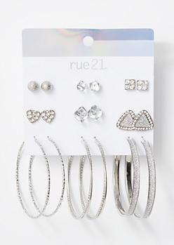 9-Pack Silver Glitter Halo Earring Set