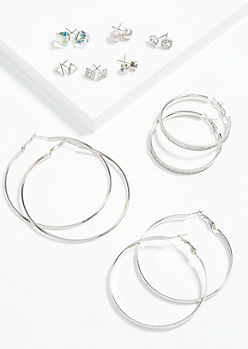 9-Pack Silver Geometric Hoop and Stud Earring Set