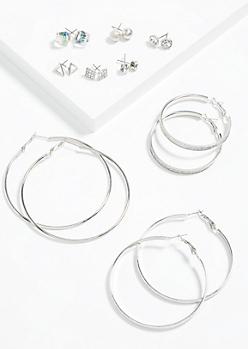 9-Pack Silver Geometric Hoop and Stud Earring Set