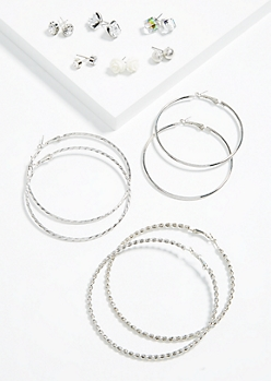9-Pack Silver Druzzy and Rose Earring Set