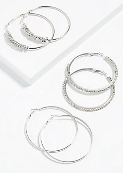 3-Pack Silver Gem Cluster Hoop Earring Set