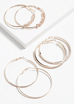 3-Pack Rose Gold Gem Cluster Hoop Earring Set