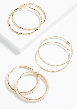 3-Pack Gold Beaded Hoop Earring Set