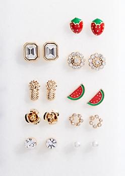 9-Pack Gold Strawberries Stud Earring Set