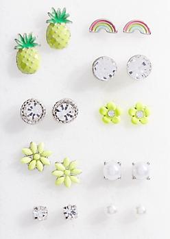 9-Pack Silver Enamel Daisy Stud Earring Set