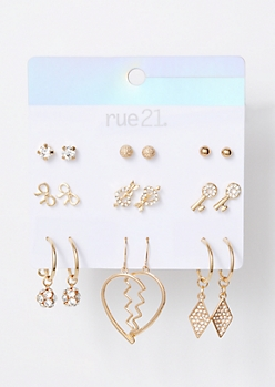 9-Pack Gold Broken Heart Earring Set