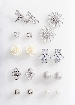 9-Pack Silver Firefly Stud Earring Set