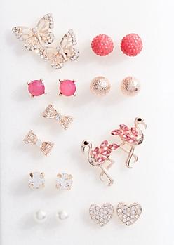 9-Pack Rose Gold Pink Flamingo Stud Earring Set