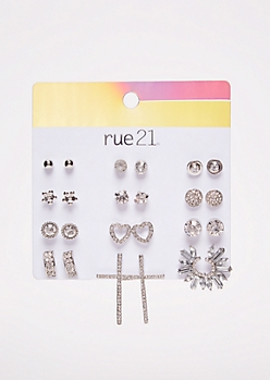 12-Pack Silver Gem Crawler Stud Earring Set