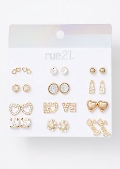 12-Pack Gold Sexy Love Stud Earring Set