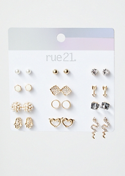 12-Pack Gold Snake Hamsa Stud Earring Set