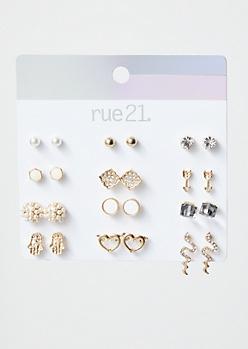 12-Pack Gold Snake Hamsa Stud Earring Set