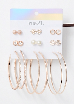 9-Pack Rose Gold Flower Pearl Earring Set