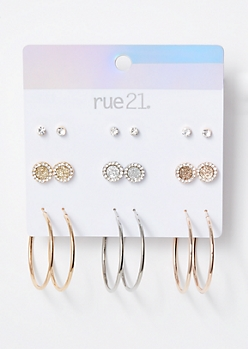 9-Pack Mixed Metal Matching Halo Earring Set