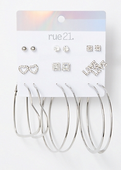 9-Pack Silver Love Heart Earring Set
