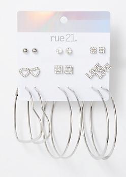 9-Pack Silver Love Heart Earring Set