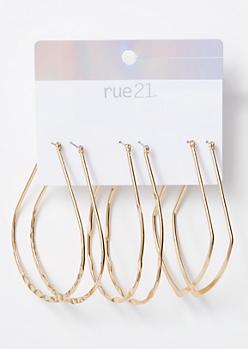 3-Pack Gold Twist Teardrop Earring Set