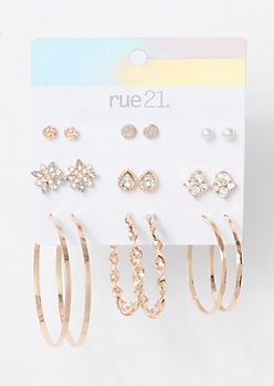 9-Pack Rose Gold Gem Flower Twist Earring Set