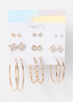 9-Pack Rose Gold Gem Flower Twist Earring Set