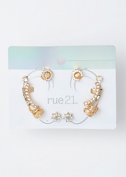 6-Pack Gold Flower Stone Ear Cuff Set
