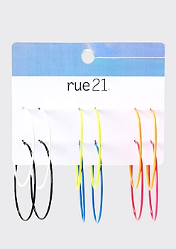 Neon Enamel Skinny Hoop Earrings