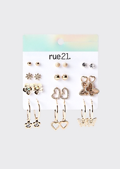 12-Pack Gold Butterfly Flower Earring Set