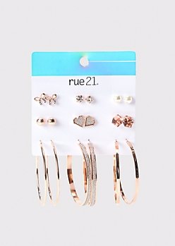 9-Pack Rose Gold Gem Stud And Hoop Earring Set
