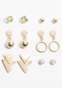 6-Pack Gold Ring Geometric Earring Set