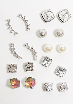 9-Pack Silver Druzy Cuff Earring Set