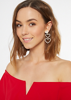 Gold Heart Cutout Drop Earrings