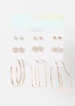 9-Pack Rose Gold Sparkle Heart Earring Set