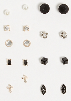 9-Pack Mixed Metal Black Cube Earring Set