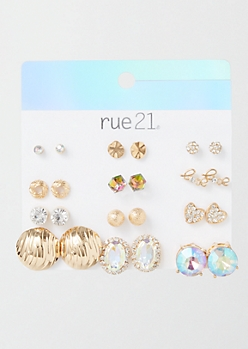 12-Pack Gold Statement Earring Set