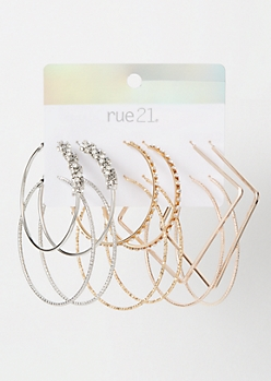 6-Pack Mixed Metal Chunky Hoop Set