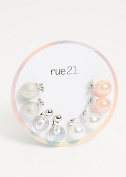 4-Pack Silver Pearl Bow Double Stud Earring Set