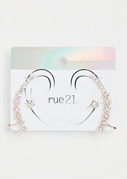 2-Pack Rose Gold Floral Gemstone Ear Crawler Set