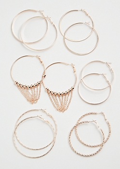6-Pack Rose Gold Beaded Chain Hoop Earring Set