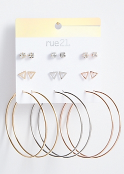 9-Pack Mixed Metal Triangle Earring Set