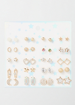 20-Pack Gold Celestial Gemstone Earring Set