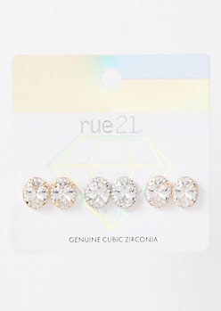 3-Pack Mixed Metal Oval Halo Stud Earring Set