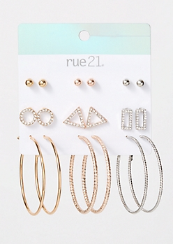 9-Pack Mixed Metal Geometric Gem Earring Set