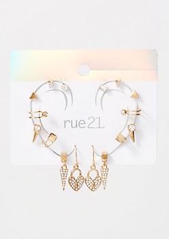 9-Pack Gold Heart Locket Earring Set