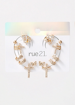 7-Pack Gold Cross Earring Set