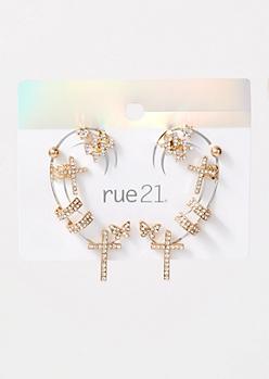 9-Pack Gold Cross Earring Set