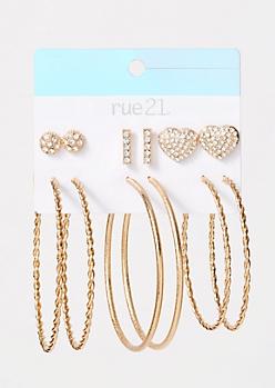 6-Pack Gold Heart Gem Earring Set