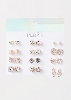 12-Pack Rose Gold Music Note Earring Set