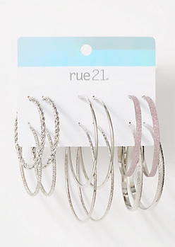 6-Pack Silver Glitter Hoop Earring Set