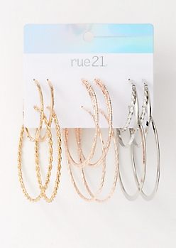 6-Pack Mixed Metal Hammered Hoop Earring Set