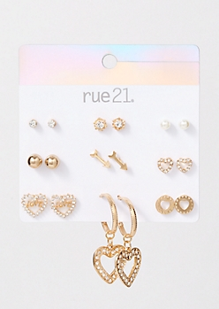 9-Pack Gold Arrow Earring Set